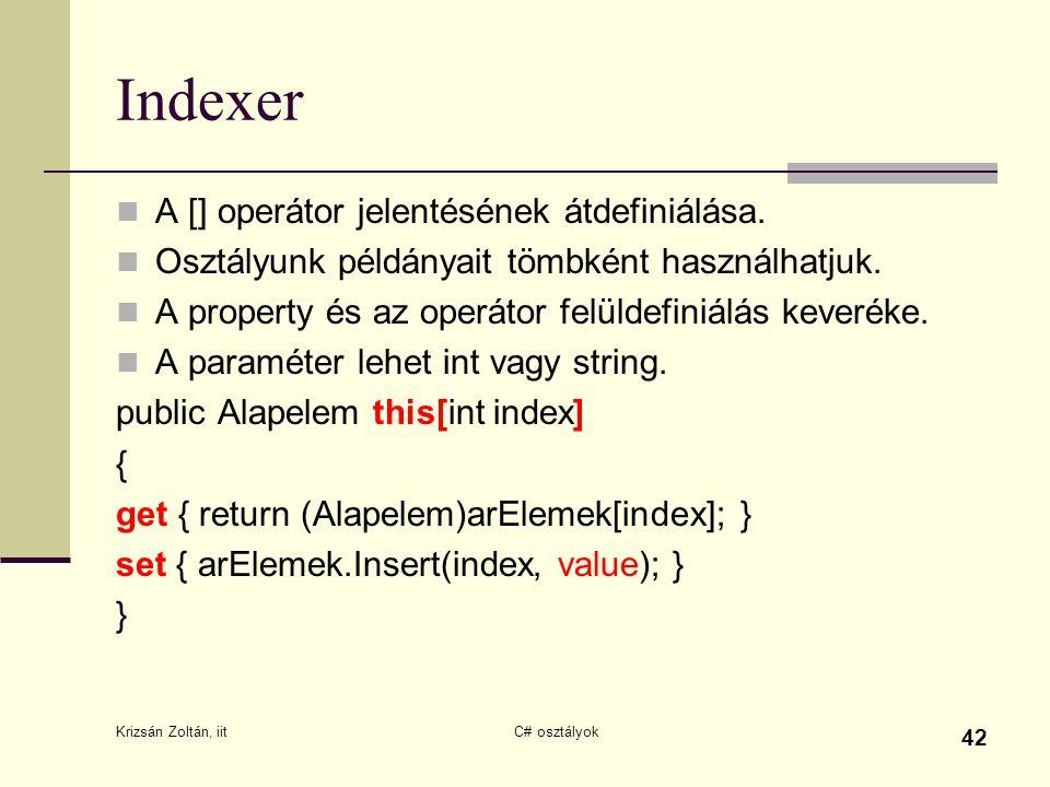 Indexer A [] operátor jelentésének átdefiniálása.